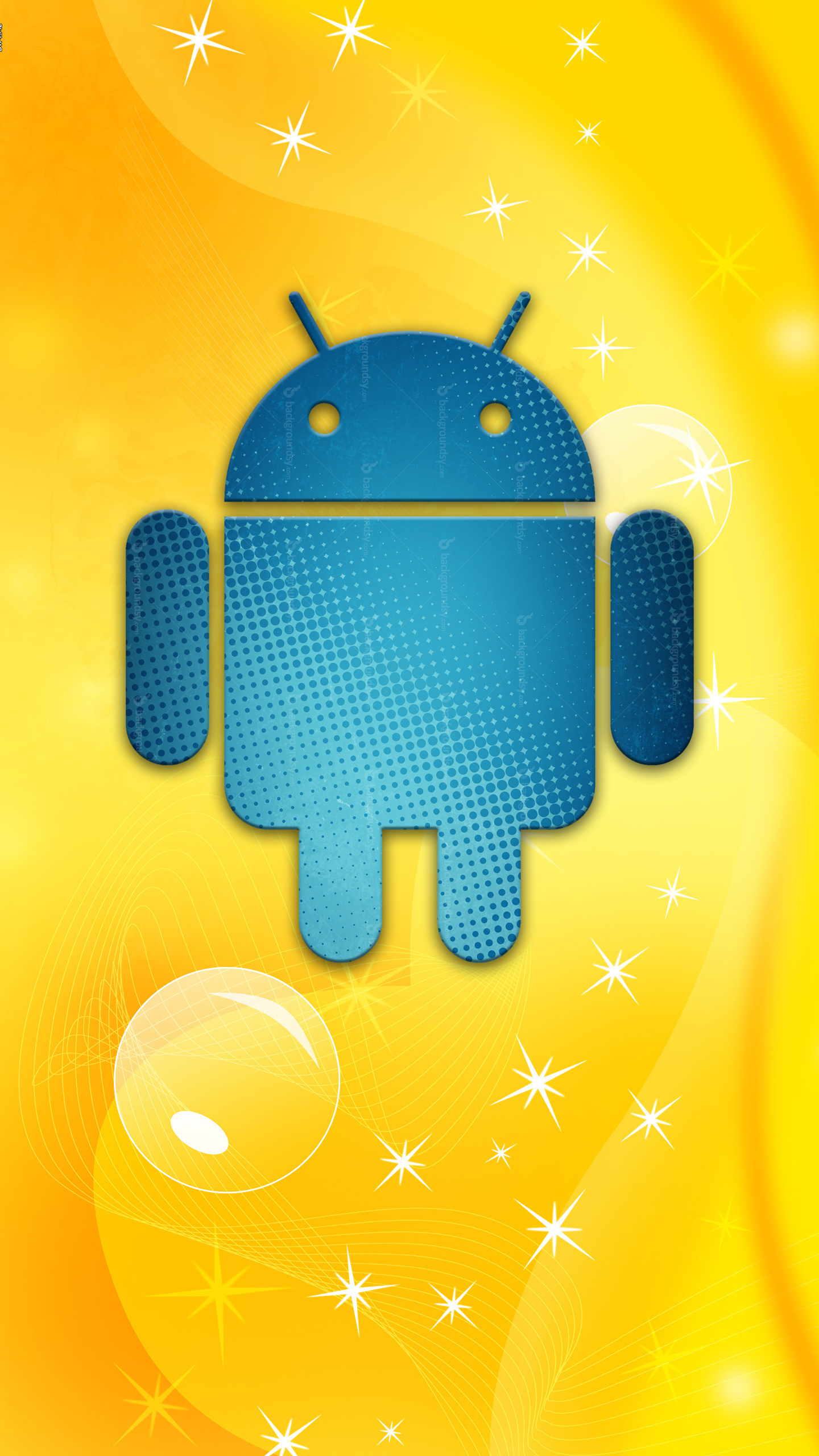 Samsung Galaxy S7 Wallpapers Blue Bugdroid Yellow Android Wallpapers